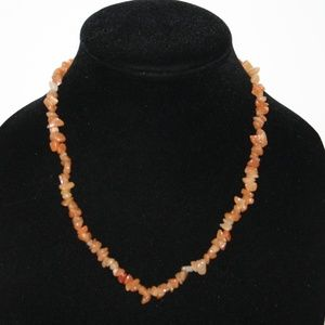 "Beautiful natural orange stone necklace 32"""